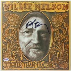 Willie Nelson Tougher Than Leather Signed Album Cover PSA/DNA #W79157