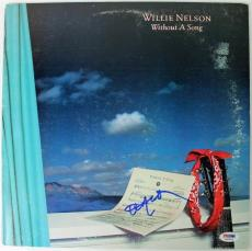 Willie Nelson Without A Song Signed Album Cover W/ Vinyl PSA/DNA #S80834