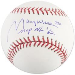 Maury Wills Signed MLB Basball w/'MVP NL 62'