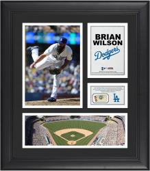 Brian Wilson Los Angeles Dodgers Framed 15'' x 17'' Collage with Piece of Game-Used Ball - Mounted Memories