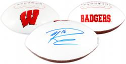 Russell Wilson Wisconsin Badgers Autographed White Panel Football - Mounted Memories