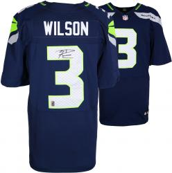 Russell Wilson Seattle Seahawks Autographed Nike Elite Blue Jersey - Mounted Memories
