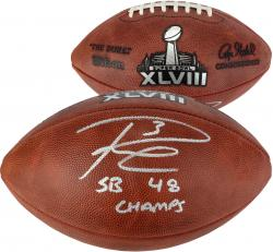 Russell Wilson Seattle Seahawks Super Bowl XLVIII Champions Autographed Pro Football with SB XLVIII Champs Inscription