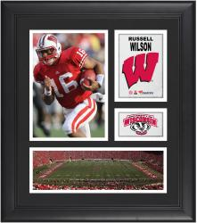 """Russell Wilson Wisconsin Badgers Framed 15"""" x 17"""" Collage"""