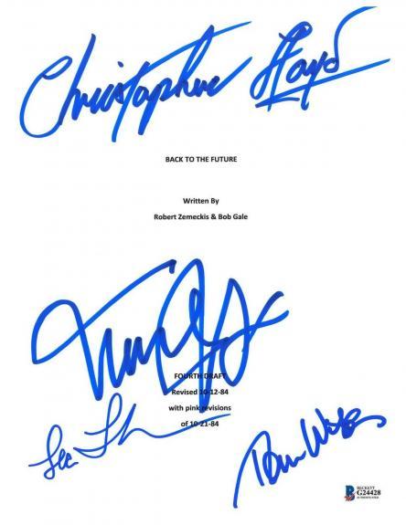 Wilson Thompson Lloyd Michael J Fox Signed Back To The Future Script Beckett Bas