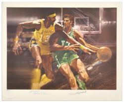 "Boston Celtics Wilt Chamberlain & John Havlicek Dual Autographed 17"" x 21"" Lithograph"