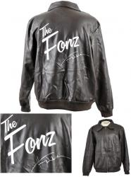 Henry Winkler Autographed The Fonz Logo Black Jacket - Mounted Memories
