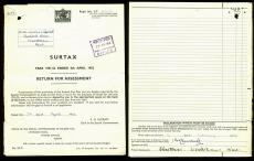 Winston Churchill Signed 7x9.25 Tax Return Document Dated February 19, 1953 BAS
