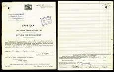 Winston Churchill Signed 7x9.25 Tax Return Document Dated February 19, 1953 BAS