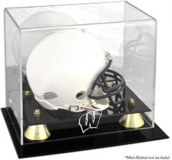 Wisconsin Badgers Golden Classic Logo Mini Helmet Display Case