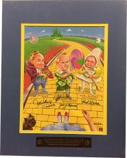 Wizard of Oz Munchkins signed 11x14 Matted Photo (blue)- 3 sig- Mickey Carroll/Jerry Maren/Karl Slover LTD- Beckett Holo #A84655