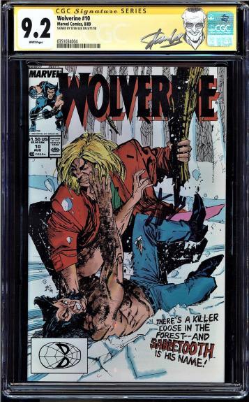 Wolverine #10 Cgc 9.2 White Ss Stan Lee Sabretooth App Cgc #0351034004