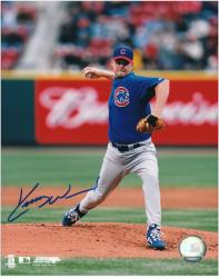 Kerry Wood Chicago Cubs Autographed 8'' x 10'' Vertical Pitching Photograph - Mounted Memories