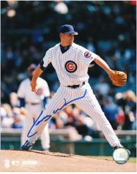 Kerry Wood Chicago Cubs Autographed 8'' x 10'' Pitching White Uniform Photograph - Mounted Memories