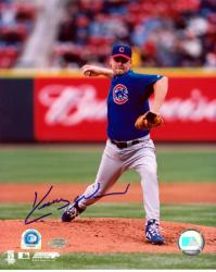 Kerry Wood Chicago Cubs Autographed 8'' x 10'' Blue Jersey Action Photograph