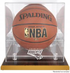 Charlotte Bobcats Woodbase Team Logo Basketball Display Case with Mirrored Back