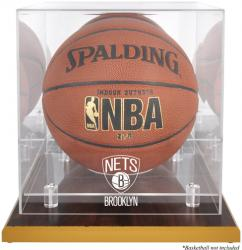 NBA Brooklyn Nets Woodbase Logo Basketball Display Case with Mirror Back