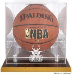 Milwaukee Bucks Woodbase Team Logo Basketball Display Case with Mirrored Back