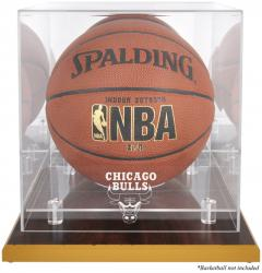 Chicago Bulls Woodbase Team Logo Basketball Display Case with Mirrored Back