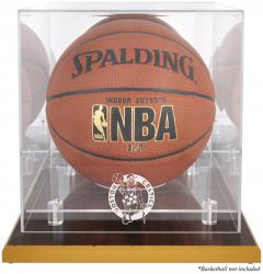 Boston Celtics Woodbase Team Logo Basketball Display Case with Mirrored Back