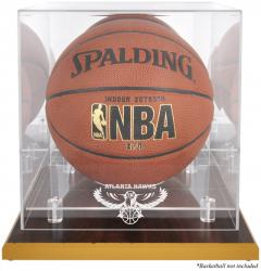 Atlanta Hawks Woodbase Team Logo Basketball Display Case with Mirrored Back - Mounted Memories