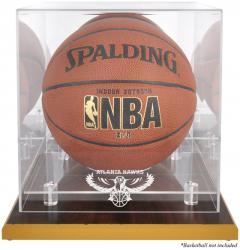 Atlanta Hawks Woodbase Team Logo Basketball Display Case with Mirrored Back