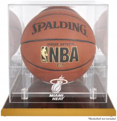 Miami Heat Woodbase Team Logo Basketball Display Case with Mirrored Back - Mounted Memories