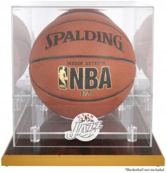 Utah Jazz Woodbase Team Logo Basketball Display Case with Mirrored Back - Mounted Memories