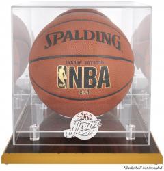 Utah Jazz Woodbase Team Logo Basketball Display Case with Mirrored Back