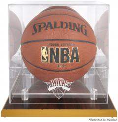 New York Knicks Woodbase Team Logo Basketball Display Case with Mirrored Back