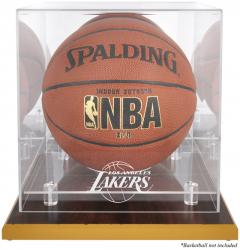 Los Angeles Lakers Woodbase Team Logo Basketball Display Case with Mirrored Back