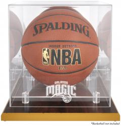 Orlando Magic Woodbase Team Logo Basketball Display Case with Mirrored Back - Mounted Memories