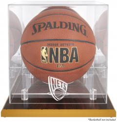 New Jersey Nets Woodbase Team Logo Basketball Display Case with Mirrored Back - Mounted Memories