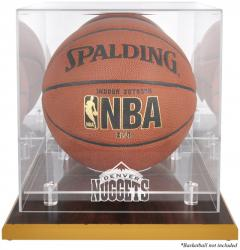 Denver Nuggets Woodbase Team Logo Basketball Display Case with Mirrored Back - Mounted Memories