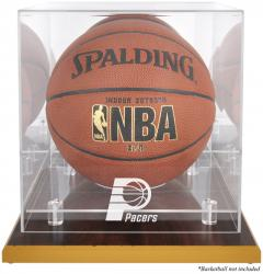 Indiana Pacers Woodbase Team Logo Basketball Display Case with Mirrored Back - Mounted Memories