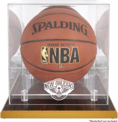 New Orleans Pelicans Wood Base Logo Basketball Display Case with Mirror Back