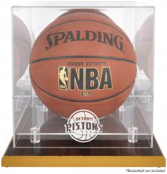 Detroit Pistons Woodbase Team Logo Basketball Display Case with Mirrored Back
