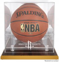 Houston Rockets Woodbase Team Logo Basketball Display Case with Mirrored Back - Mounted Memories