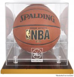 Philadelphia 76ers Woodbase Team Logo Basketball Display Case with Mirrored Back - Mounted Memories