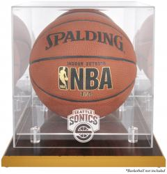 Seattle SuperSonics Wood Base Logo Basketball Display Case with Mirror Back