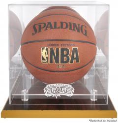 San Antonio Spurs Woodbase Team Logo Basketball Display Case with Mirrored Back