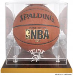 Oklahoma City Thunder Woodbase Team Logo Basketball Display Case with Mirrored Back - Mounted Memories