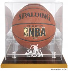 Minnesota Timberwolves Woodbase Team Logo Basketball Display Case with Mirrored Back - Mounted Memories