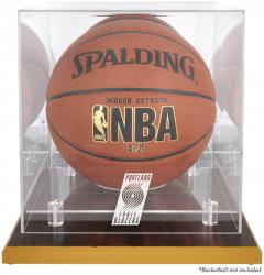 Portland Trail Blazers Woodbase Team Logo Basketball Display Case with Mirrored Back - Mounted Memories