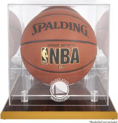 Golden State Warriors Woodbase Team Logo Basketball Display Case with Mirrored Back - Mounted Memories