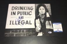 Wow No Drinking Sign Billy Joel Signed 11x14 Photo Authentic Autograph Beckett