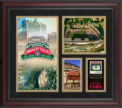 """Chicago Cubs Wrigley Field 100th Anniversary Framed 15"""" x 17"""" Collage with Gold Mat and Piece of Game-Used Ball - Limited Edition of 500"""