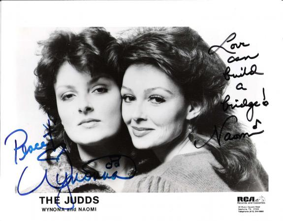"WYNONA and NAOMI JUDD - Hits Include ""MAMA HE'S CRAZY"", ""WHY NOT ME"", and GRANDPA (TELL ME 'BOUT the GOOD OLD DAYS) Signed 10x8 B/W Photo"