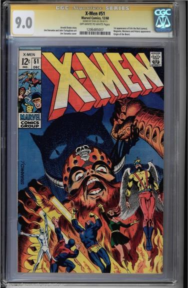 X-men #51 Cgc 9.0 Oww Stan Lee Ss 1st App Of Eric The Red Cgc #1206485007
