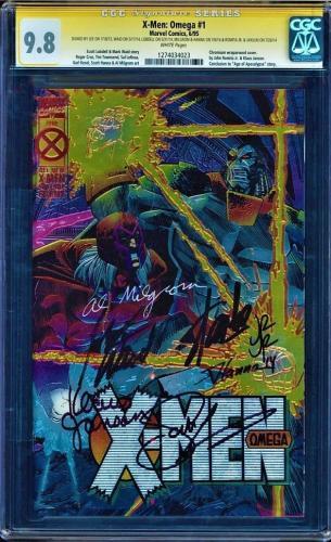 X-MEN OMEGA #1 CGC 9.8 SS 7 X's STAN LEE,WAID,LOBDELL,ROMITA, HANNA #1274034023